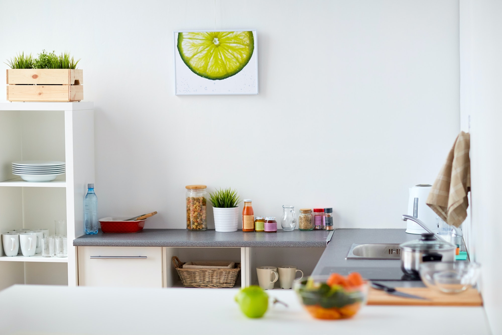 modern home kitchen interior with food on table